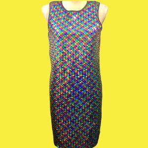 ASOS Rainbow Sequin Sleeveless Dress Sz 8 NWT